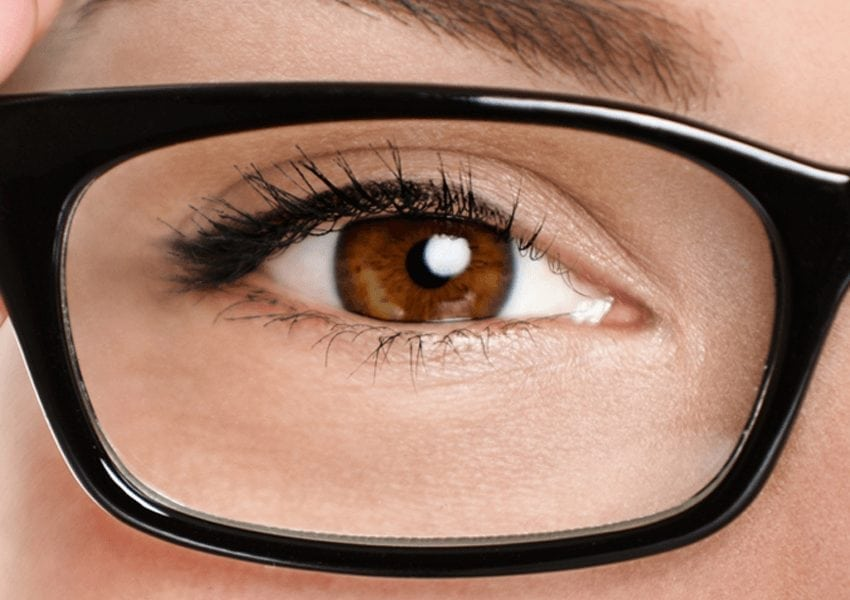 close up of eye with glasses on