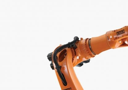 Orange robotic manufacturing arm