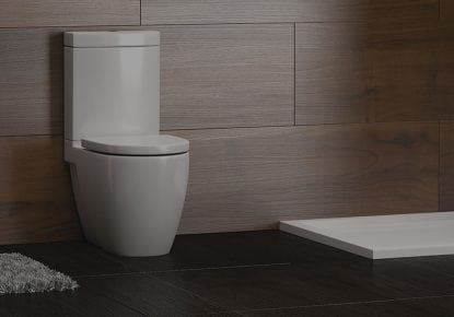 modern bathroom, featuring white porcelain toilet and basin