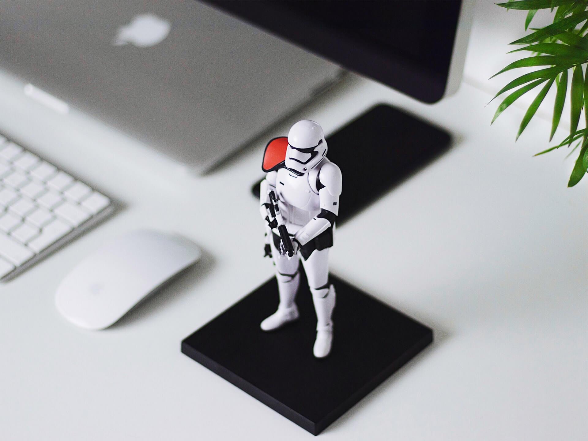Star Wars Stormtropper figurine on table