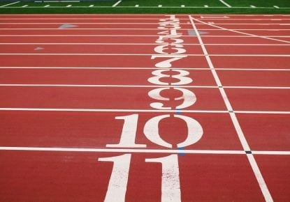 Running track finish line with numbers