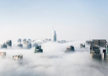 City skyline in the clouds