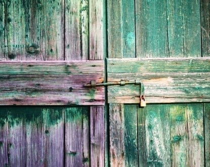 Old wooden doors, with aged green finish