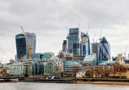 Landscape of the City of London, with numerous construction cranes. Taken from the south of the river.