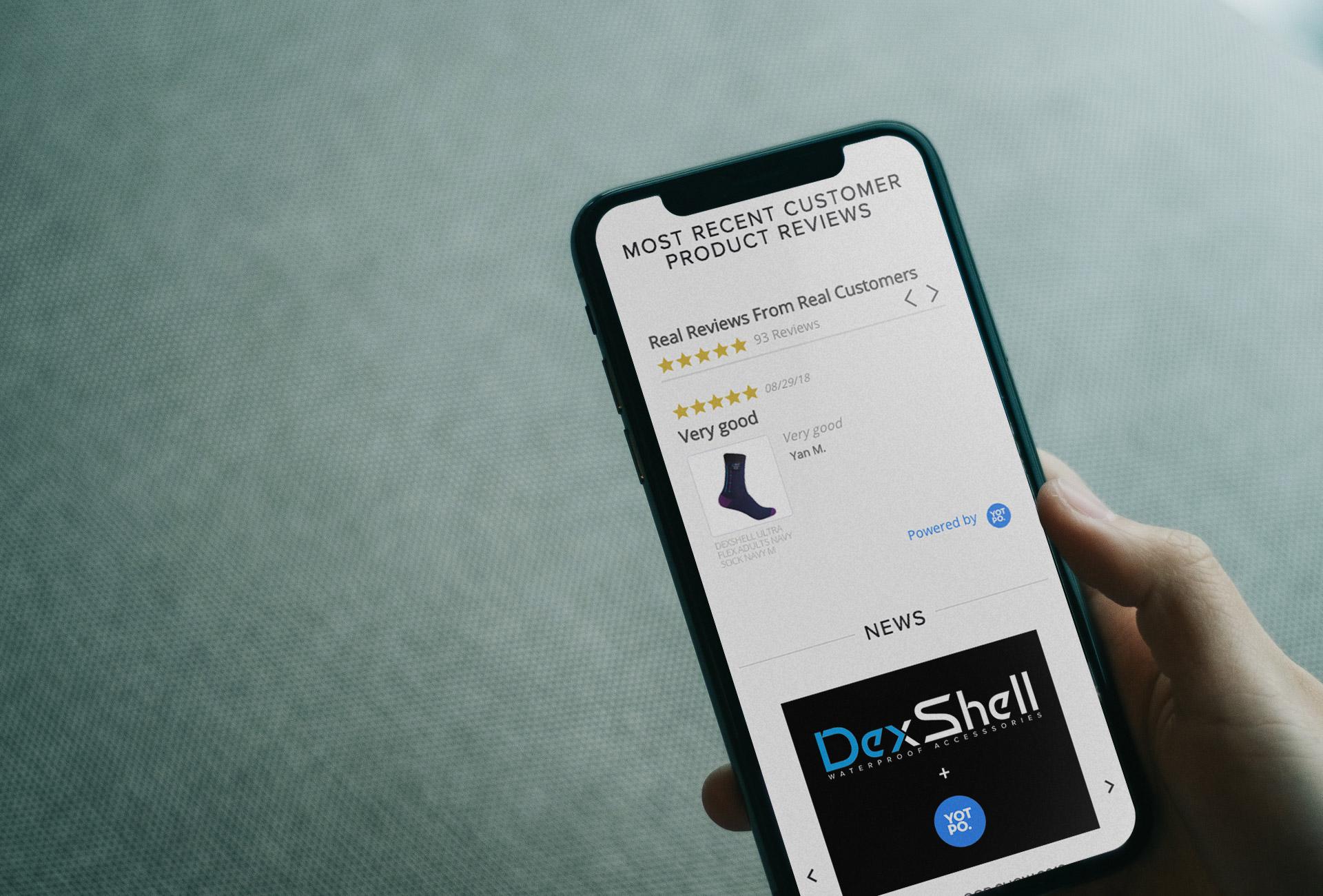 Dexshell Yotpo review on a mobile device