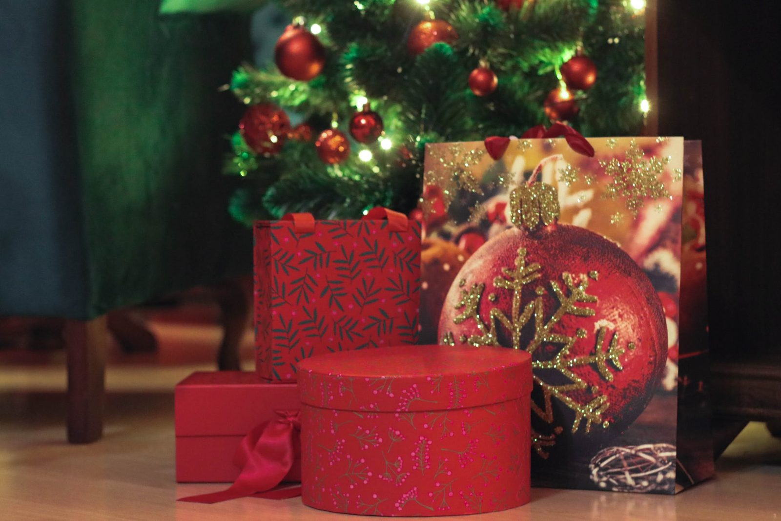 Christmas presents wrapped with bows and ribbons