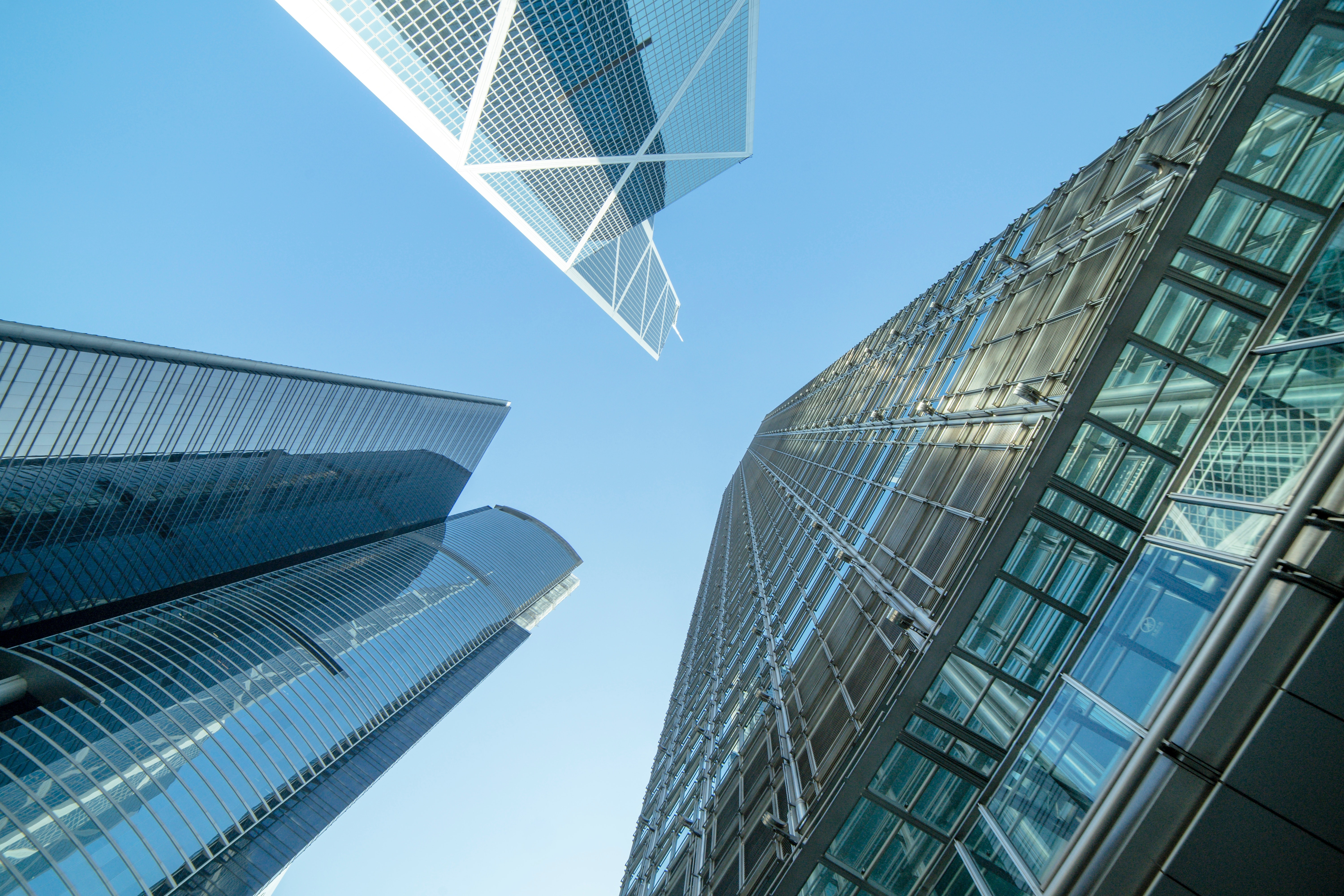 low angle tall buildings.