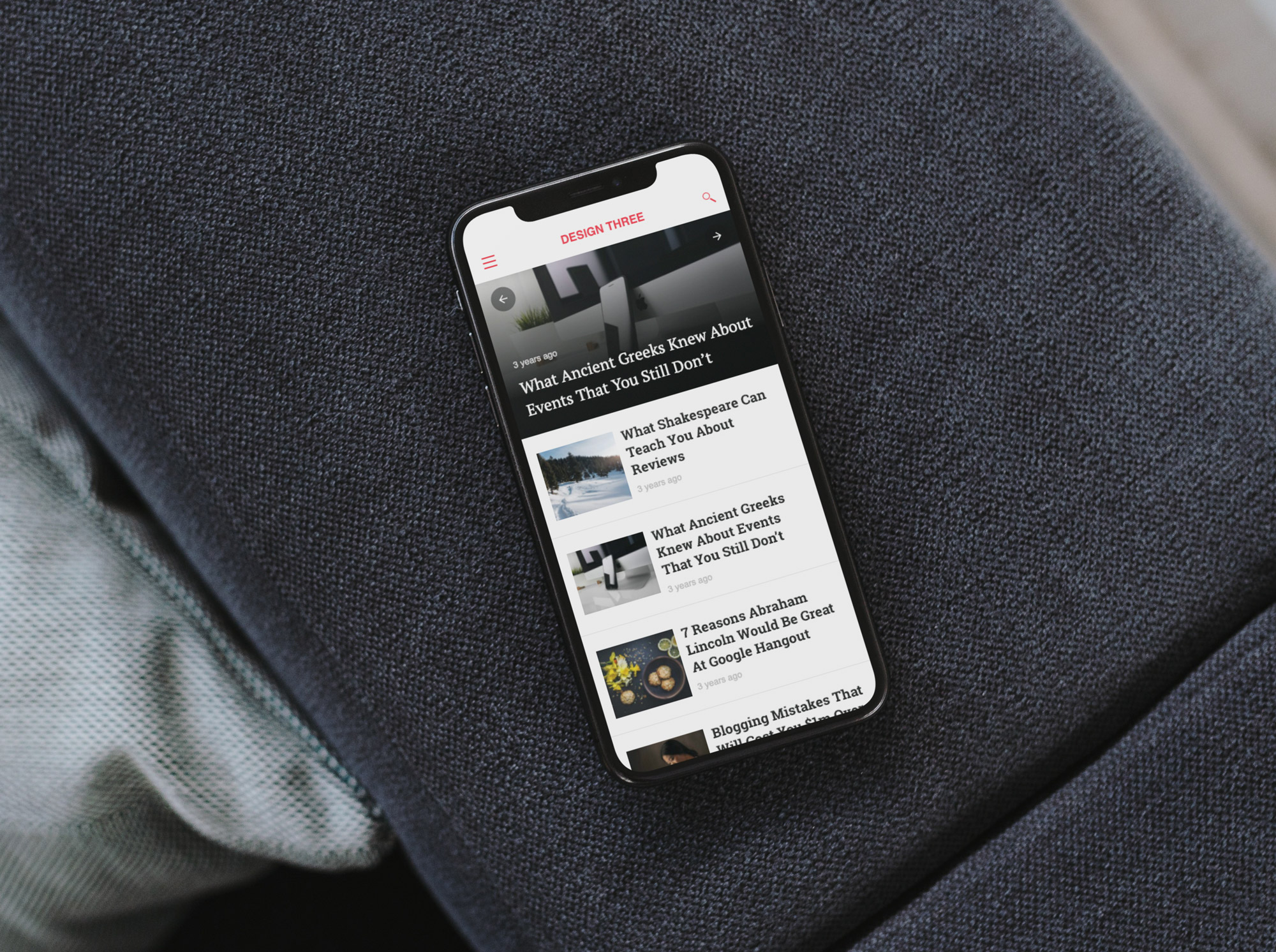 Blog site displayed on a mobile device