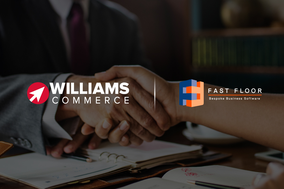 Williams Commerce and Fast Floor logo, in-front of a handshake