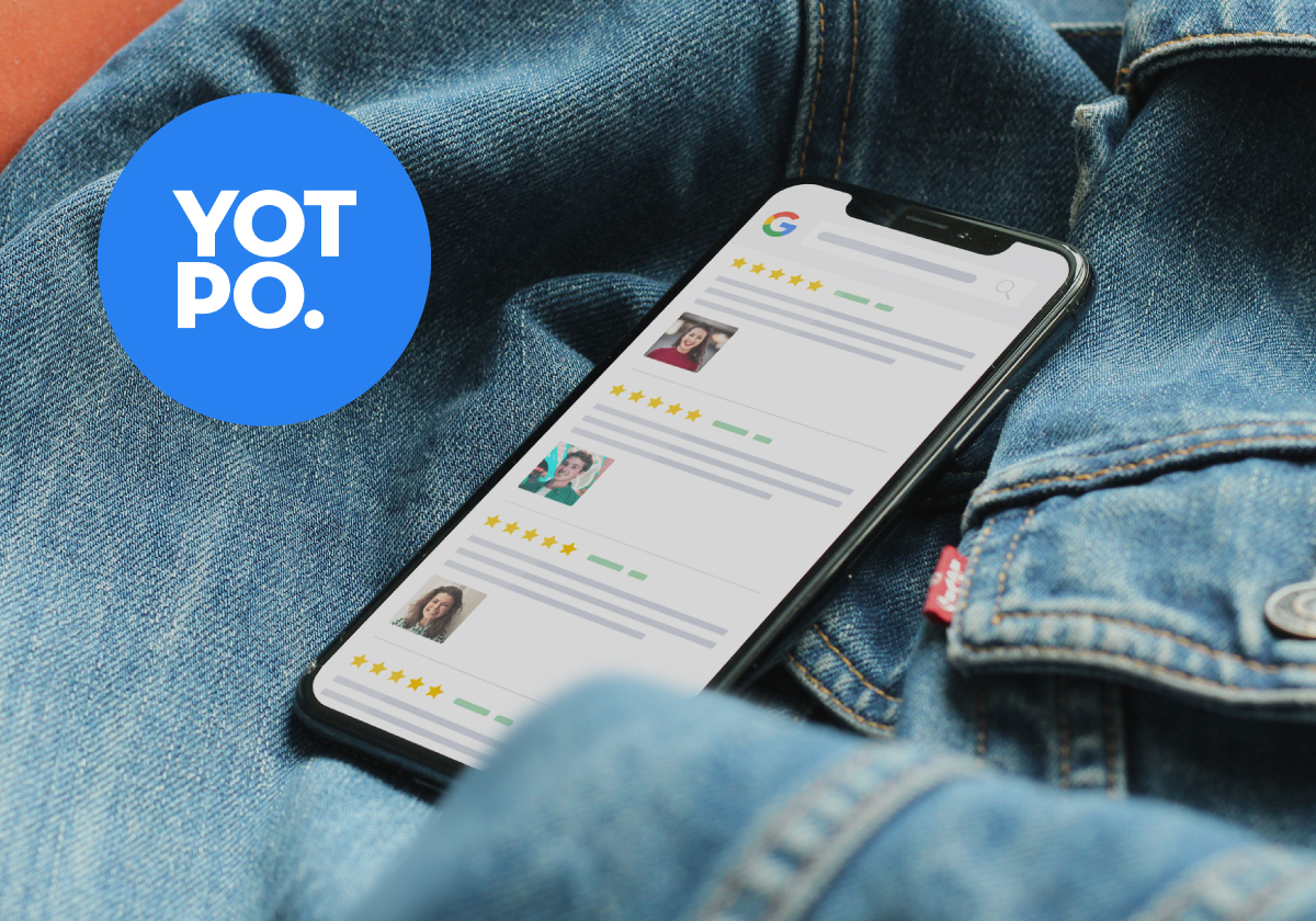 Smartphone featuring customer reviews including photos from Yotpo and Yotpo logo