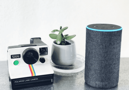 An Amazon Alexa with polaroid camera and pot plant