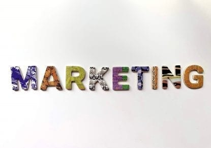the word marketing spelt out in different patterned letters.