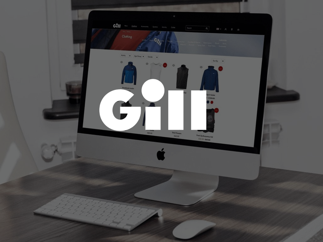 Gill logo in front of monitor