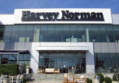 A Harvey Norman store on a sunny day